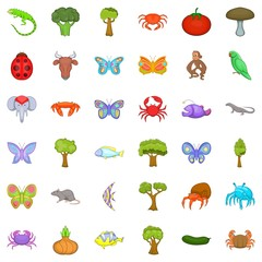 Biology icons set. Cartoon style of 36 biology vector icons for web isolated on white background