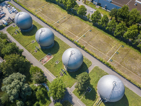Aerial view of natural gas storage containers in Switzerland, Europe