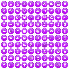 100 coffee cup icons set in purple circle isolated vector illustration