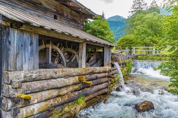 Mühle Holz Wasser Detail