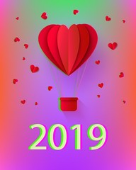 New year 2019 holiday Background template with papercut red air balloon. Celebration backdrop with modern origami paper flying objects and space for text. Vector illustration