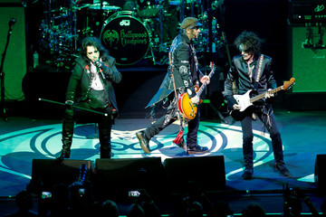 Alice Cooper, Johnny Depp and Joe Perry perform together as 'Hollywood Vampires' during the 52nd Montreux Jazz Festival in Montreux