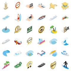 Marine icons set. Isometric style of 36 marine vector icons for web isolated on white background