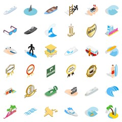 Ocean boat icons set. Isometric style of 36 ocean boat vector icons for web isolated on white background