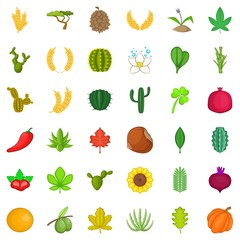 Nature plant icons set. Cartoon style of 36 nature plant vector icons for web isolated on white background