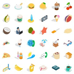 Breakfast icons set. Isometric style of 36 breakfast vector icons for web isolated on white background