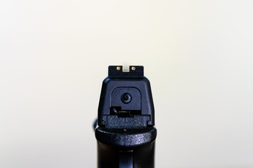 point of view of hand gun down weapon sights
