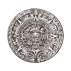 Vintage Mayan calendar. traditional native aztec culture. Ancient Monochrome Mexico. American Indians. Engraved hand drawn old sketch for label.