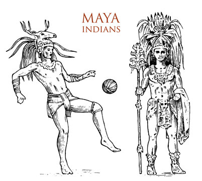 Maya Vintage style. Aztec culture. Portrait of a man, traditional costume and decoration on the head. Native tribe, Ancient Monochrome Mexico. engraved hand drawn old sketch. warrior for label.