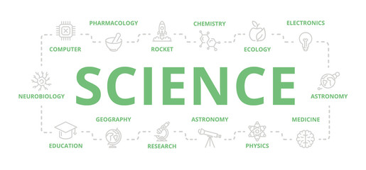 Set of vector science and research thin line banner for design concept. Illustration for presentations on white background