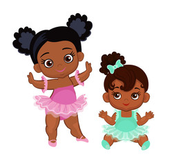 Vector cute little baby African American ballerinas in  tutu dresses.  Vector illustration isolated on white background.