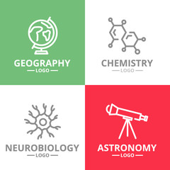 Set of vector science and research logo or insignia, emblems, labels and badge. Vector line style