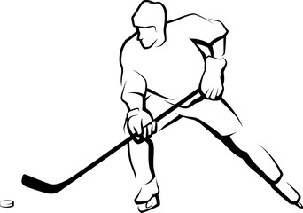 Ice Hockey Player Skating with Puck.