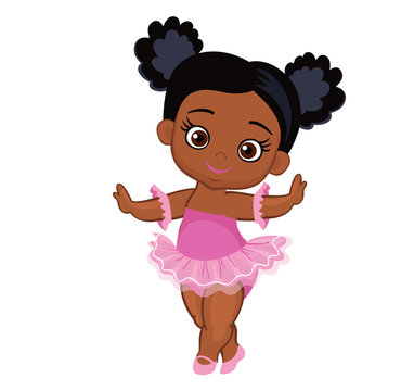 Vector cute little baby African American ballerina in  tutu dresses. Vector illustration isolated on white background.