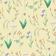 Watercolof vintage pattern with meadow flowers