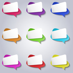 Vector colorful empty bubbles speech icons set.