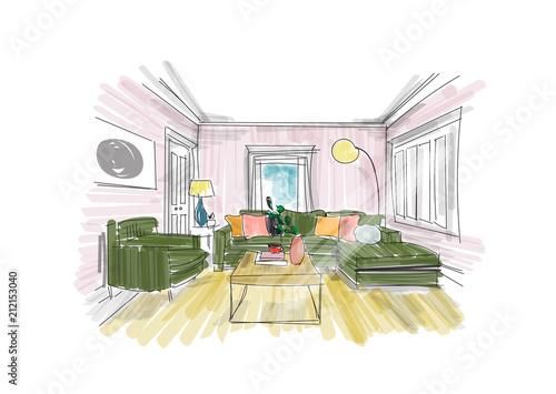 Interior Design Sketch Hand Drawn Vector Illustration Of Sitting