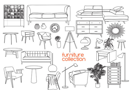 furniture collection. vector interior design elements. outlined furniture drawing.