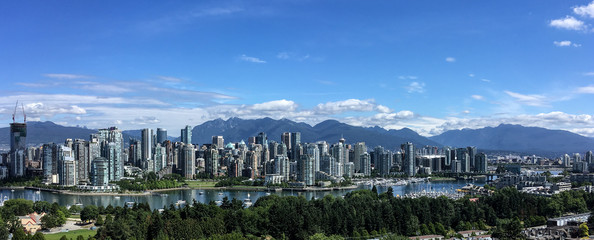 Downtown Vancouver skyline on a sunny day.