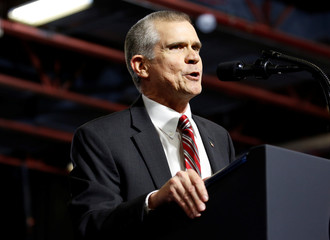 Republican senate candidate Matt Rosendale speaks during a Make America Great Again rally in Great Falls, Montana