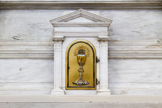 Pavia, Italy. 13 February 2017. The tabernacle with the Eucharist in the Duomo di Pavia (Pavia Cathedral).