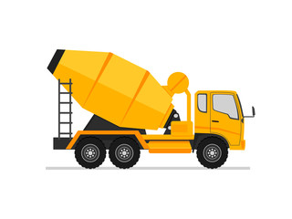 Concrete truck icon. Mixer cement truck side view in flat style design. industry equipment machine. Construction machinery for pouring of cement. Vector illustration on a white background.