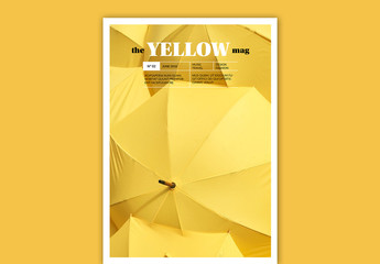 Magazine Cover Layout with Yellow Accents