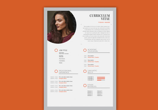 Resume Layout with Gray and Orange Accents