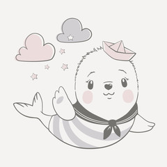 Vector illustration of a cute baby seal in sailor costume in pastel colors.