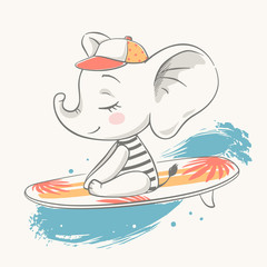 Vector illustration of a cute baby elephant floating on a surfboard.
