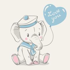 Vector illustration of a cute baby elephant in a sailor costume, sitting and holding a balloon in his trunk.