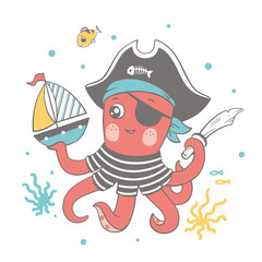 Vector illustration of a cute baby octopus in pirate costume playing with a toy ship.