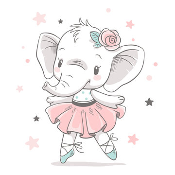 Vector illustration of a cute baby elephant ballerina in a pink tutu.