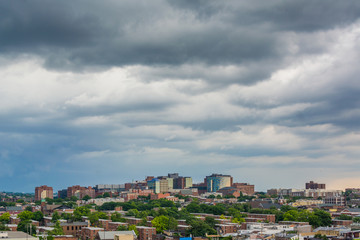Storm clouds over Johns Hopkins Hospital, in Baltimore, Maryland