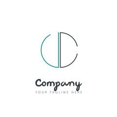Initial Letter VC UC Circle Design Logo