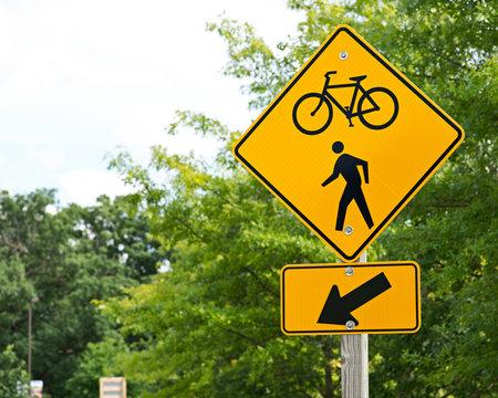 Bike and walking trail yellow traffic sign
