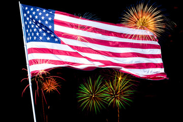 American flag and firework on background