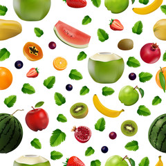Mixed fresh fruits, Strawberry, Kiwi, watermelon, Orange, berry and pomegranate on white background, vector and illustration.
