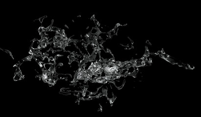 Water splash isolated on black background , 3D rendering .