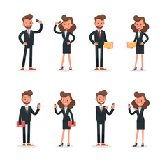 Set of Businessman and Businesswoman character vector design. no5