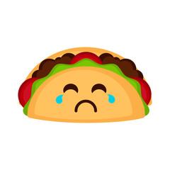 Isolated sad taco emote