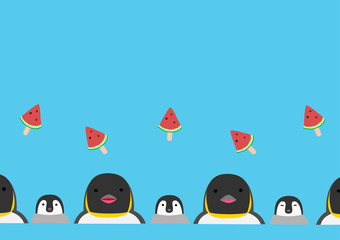 penguin and watermelon stick background