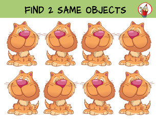 Sitting funny cat. Find two same pictures. Educational game for children. Cartoon vector illustration