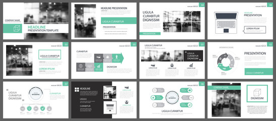 Green presentation templates for slide infographics elements background. Use for business annual report, flyer design, corporate marketing, leaflet, advertising, brochure, modern style.