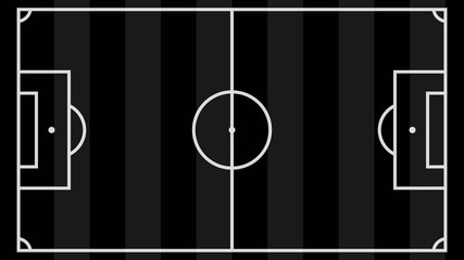 Top view of football field. Black sport background.