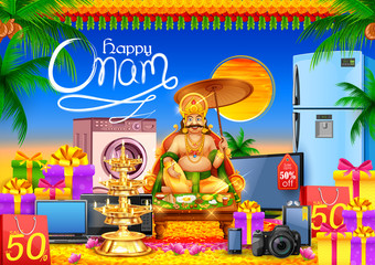 King Mahabali on advertisement and promotion background for Happy Onam festival of South India Kerala