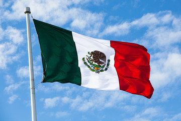 Mexican Flag on Sky Background