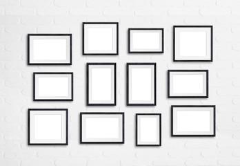 Black wooden photo frames collage on white bricks wall, twelve units mock up, 3d illustration