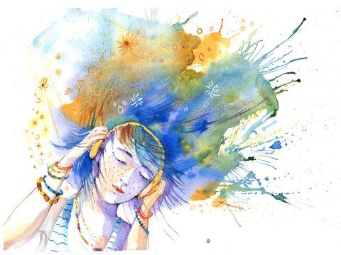 Girl, watercolor portrait