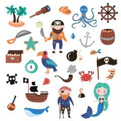 Set of Pirates vector cartoon objects. Adventures and Pirate party for Kindergarten. Children Adventure, treasure, pirates, octopus, whale, ship - Kids drawing vector cartoon objects about Pirates and